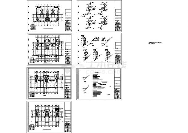 半地下层地上3层4户型联排别墅给排水施工设计图纸-图一