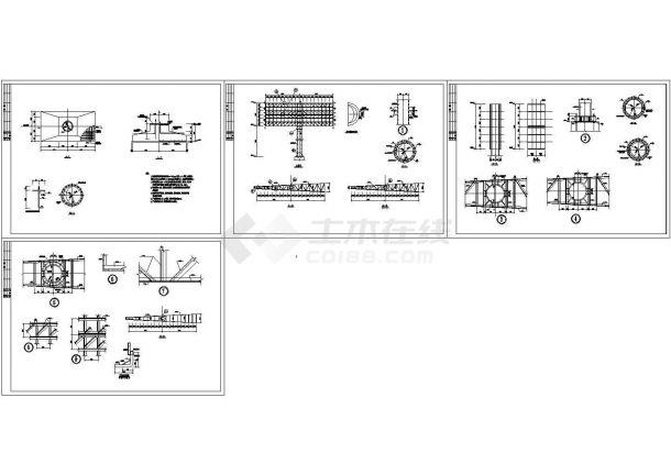 [施工图]某高速公路双面广告牌结构设计图(CAD,4张图纸)-图一