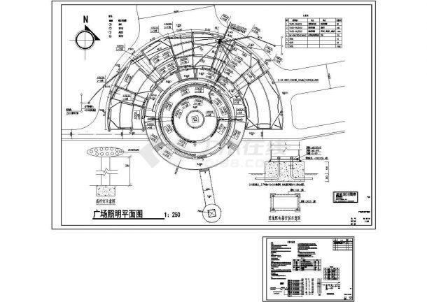 东方明珠广场景观照明系统设计施工cad图纸,共二张-图一