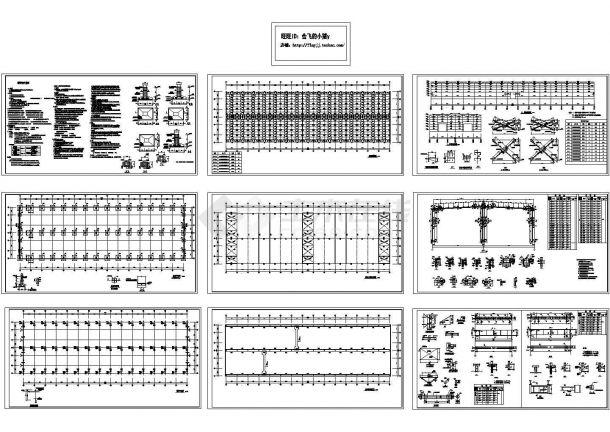 2880平方米30T门式轻钢结构车间结构设计施工cad图纸-图一