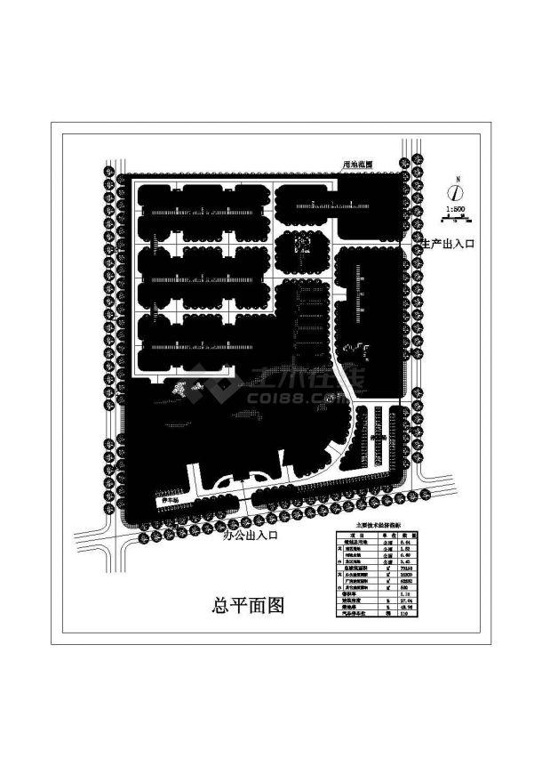 某工业区规划设计cad图(含总平面图)-图一
