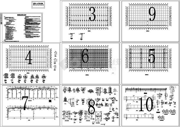 8910平方米钢框架结构单层厂房结构设计施工cad图纸-图一