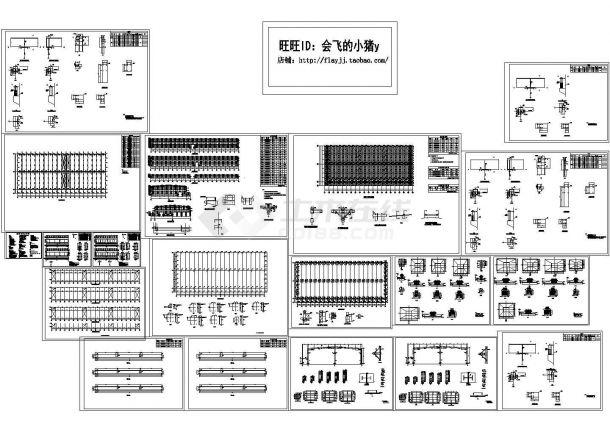 10050平方米67米总跨门式刚架带吊车钢结构厂房结构设计施工cad图纸-图一