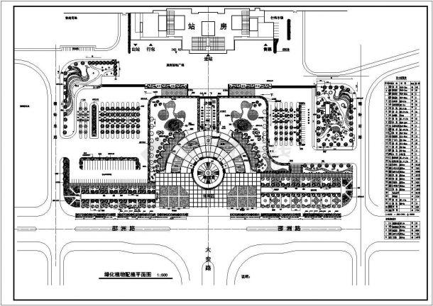 某火车站广场绿化设计平面设计图-图一