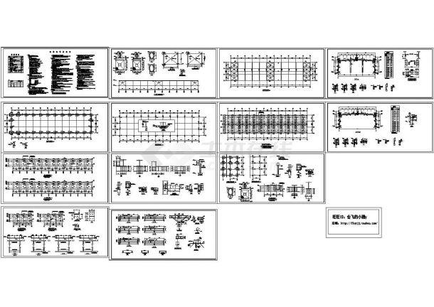 983平方米5米跨轻钢结构厂房结构设计施工cad图,共十三张-图一