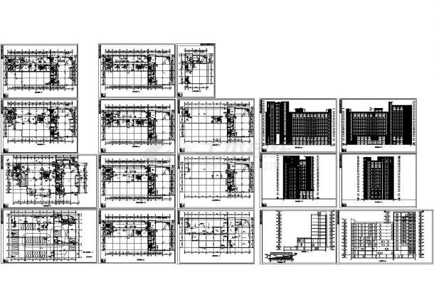 高层办公楼建筑设计施工cad图纸(含地下一层,共十八张)-图一