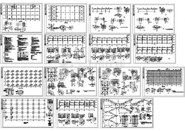 某三层商业楼钢框架结构设计cad施工图纸-图二