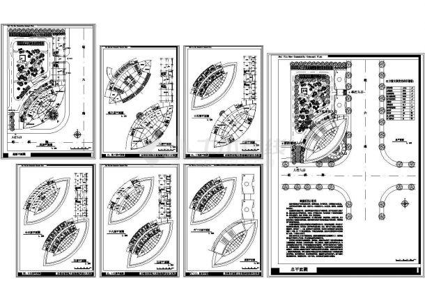 某市16层大酒店建筑设计CAD方案图(含地下室设计)-图一