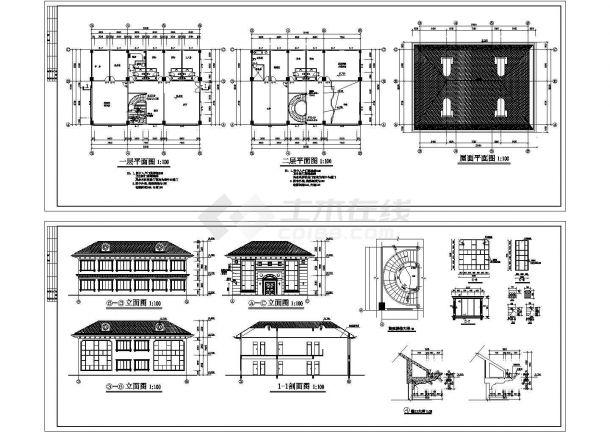 某2层私人住宅楼建筑设计CAD图纸(旋转楼梯设计)-图一