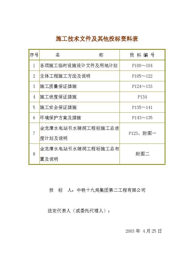 金龙潭水电站施工技术文件及其他投标资料表-图一