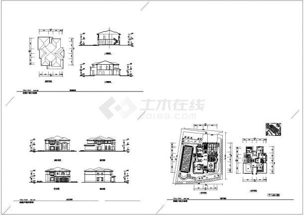 386平方米2层别墅住宅楼建筑设计施工cad图纸,共三张-图一
