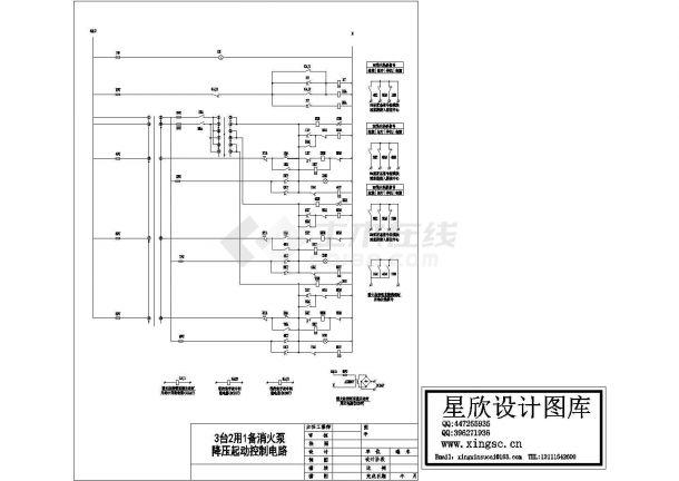 某消防泵降压启动控制电路设计施工方案完整CAD图纸-图一