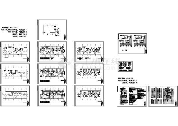 三层办公楼风机盘管+新风空调系统设计图-图一