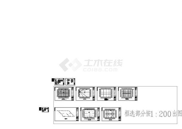 某5632㎡单层四跨门式钢结构厂房水电CAD图纸 给排水设计说明,电气设计说明,平面CAD图等-图一