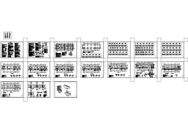 4层框架结构教学楼结构cad设计施工图-图一