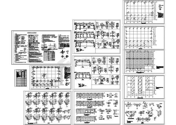 45x31m 经典24米跨钢结构厂房结构施工图-图一