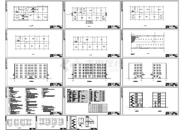 4426平米五层框架结构教学楼建筑施工cad图(含计算书,计算书)-图一