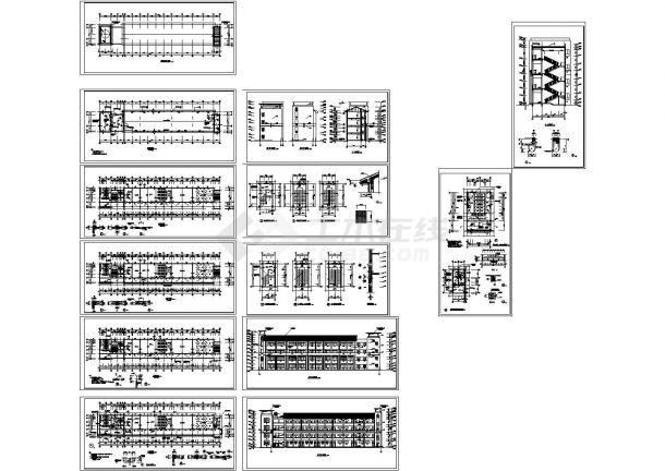 江西某四层框架结构教学楼建筑施工全套图纸-图二