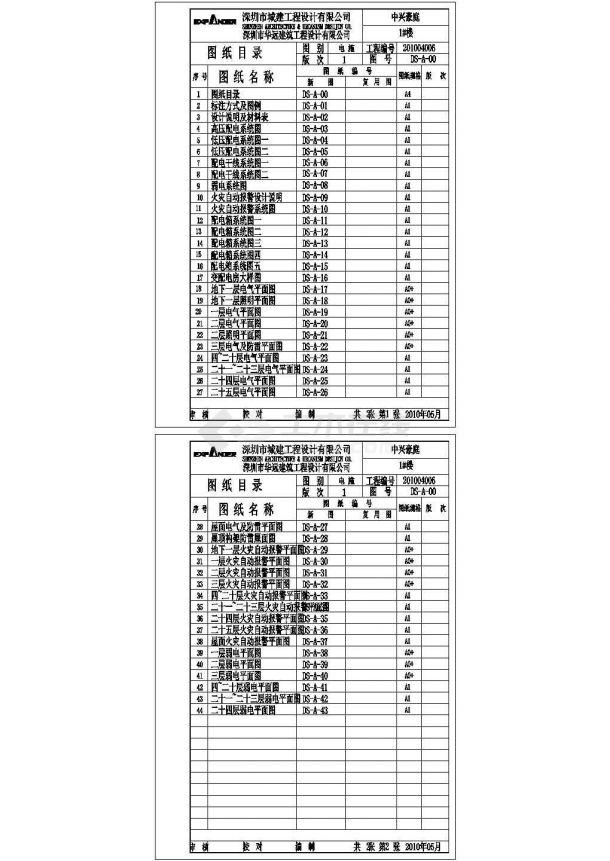 [施工图][广东]一类高层住宅楼电气施工CAD全套图纸-图一
