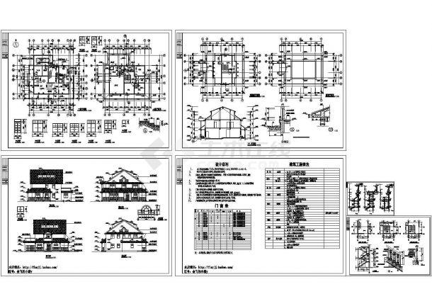 长15.3米 宽15米 2+1阁楼层406平米别墅建施【平立剖 楼梯 门窗[表] 墙身大样 建筑工程做法 说明】-图一
