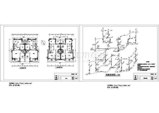 长19.2米 宽16.5米 2层双拼别墅供热课程设计【一二层供执(采暖)平面 供暖系统图 设计说明】(cad,2张图纸)-图一