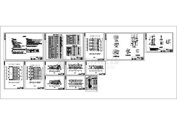 [山西]某地四万吨污水厂中水回用工艺流程全套设计cad图纸(含工艺设计说明)-图一