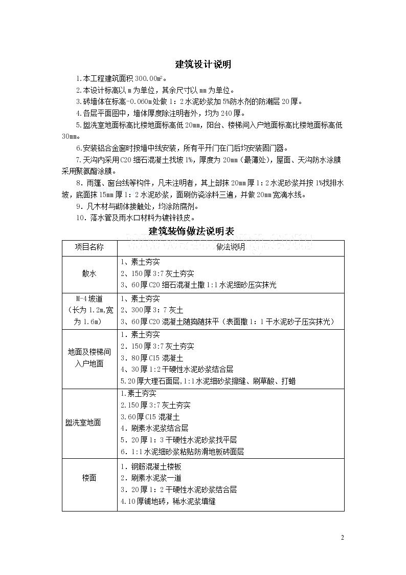 300㎡办公楼土建工程量计算及工程量清单计价编制-图二