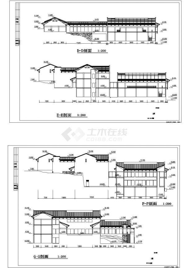杭州中式现代风格历史博物馆建筑设计CAD施工图-图一