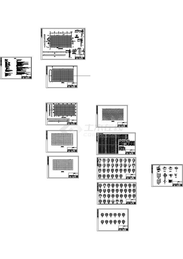 正放四角锥体育馆网架结构设计施工图(12张图纸,cad)-图一
