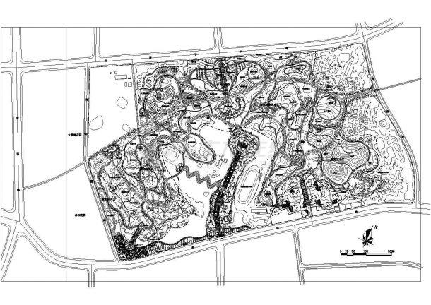 四川某县城公园景观设计施工cad图纸-图一
