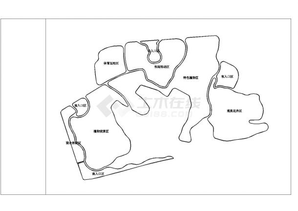 四川某县城公园景观设计施工cad图纸-图二