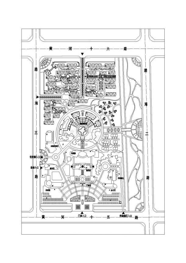 某五层医院规划设计cad图(含效果图,总平面图)-图一