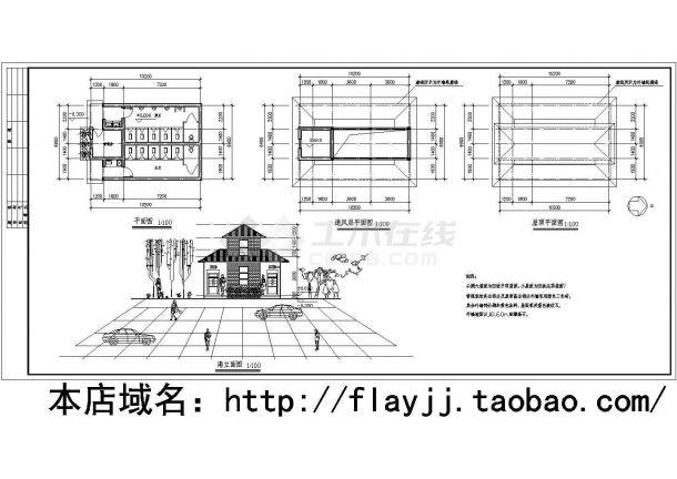 一层新建筑类型公共厕所建筑施工方案cad图纸含平面图-图二