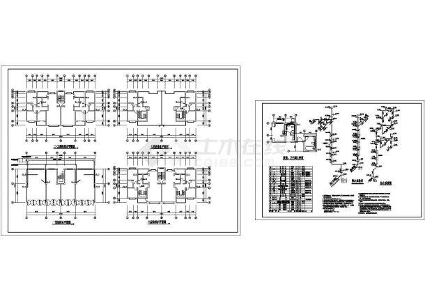 五套七层住宅建筑施工cad图,共十七张-图一