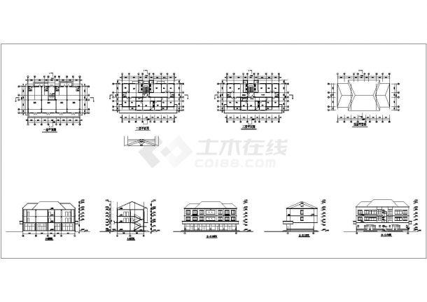 某三层别墅建筑施工CAD图纸设计-图一