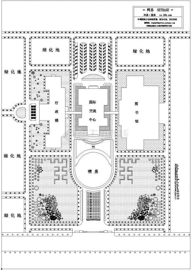 某校园周边环境绿化平面图-图一