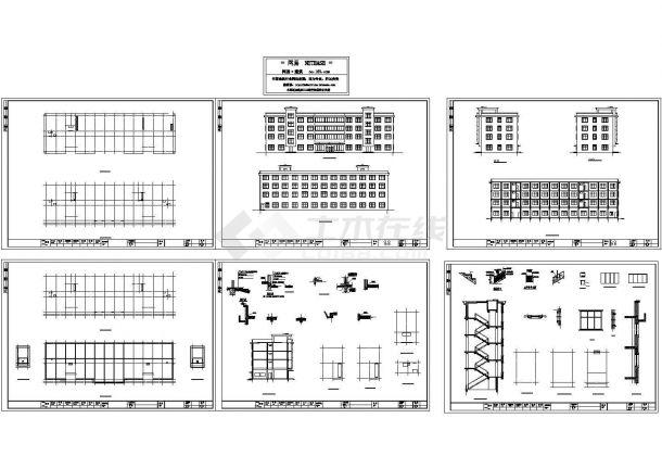 某厂房宿舍楼建筑立面平面设计图纸-图一
