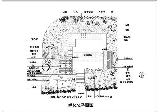 某山庄别墅绿化景观布置总平面CAD图纸-图一