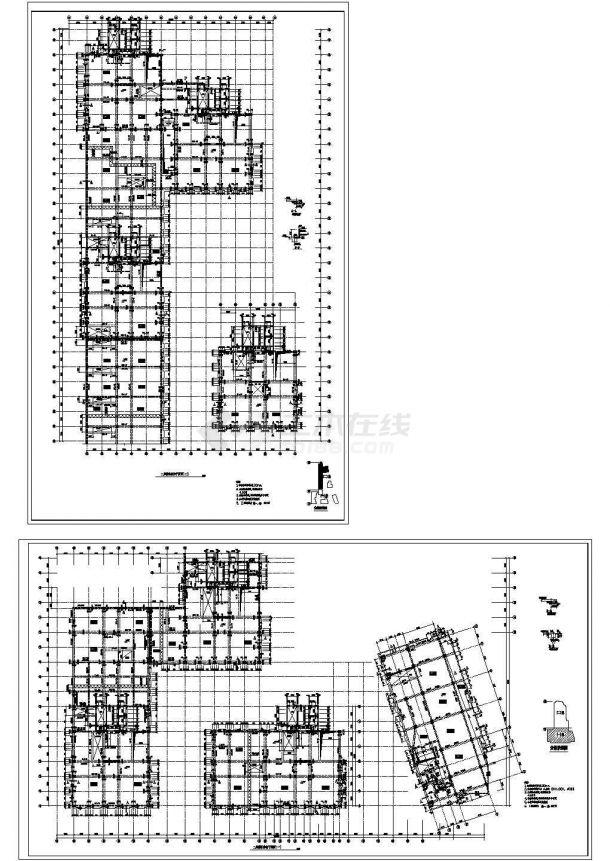 某高层办公楼框架结构CAD施工设计图纸-图一