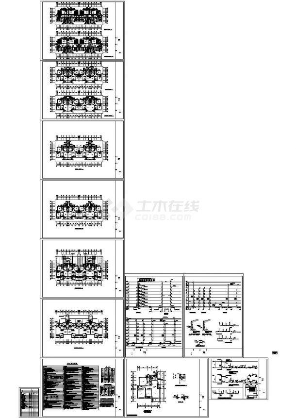 某八层框架结构住宅楼给排水设计cad全套施工图(含设计说明)-图一