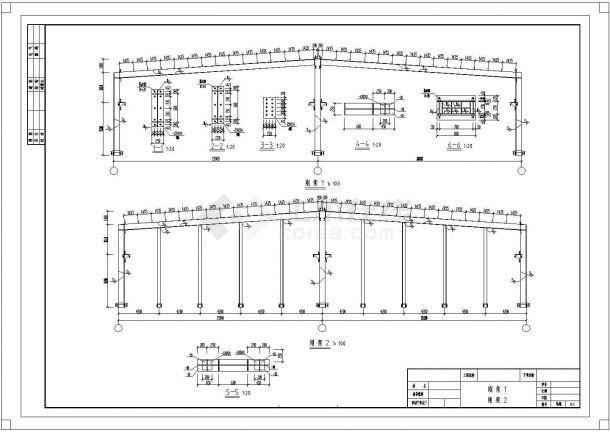 长75米,宽42米轻钢厂房建筑结构毕业设计cad图纸(含计算书)-图一