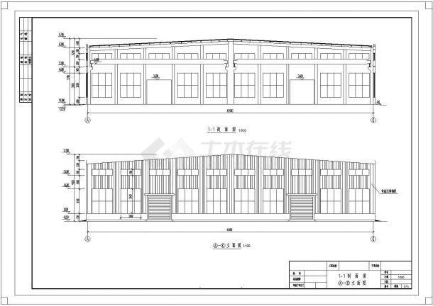 长75米,宽42米轻钢厂房建筑结构毕业设计cad图纸(含计算书)-图二