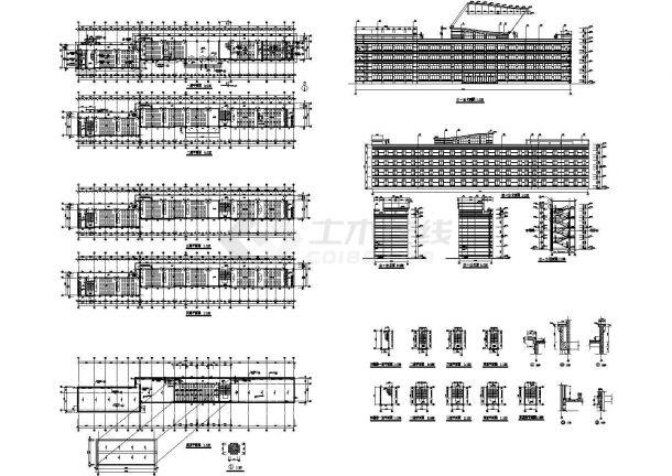 四层大学教学楼建筑施工cad图,共二十四张-图一