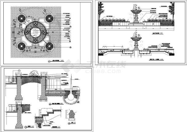 喷泉广场建筑设计施工图-图二