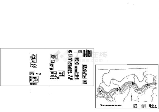 某学院新区绿化工程排水渠与步行桥 设计cad全套施工图(标注详细,41张图)-图一