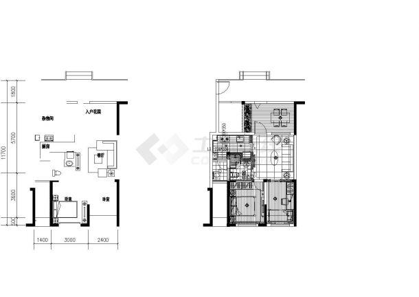 二居室装修设计全套施工图(附效果图)-图一