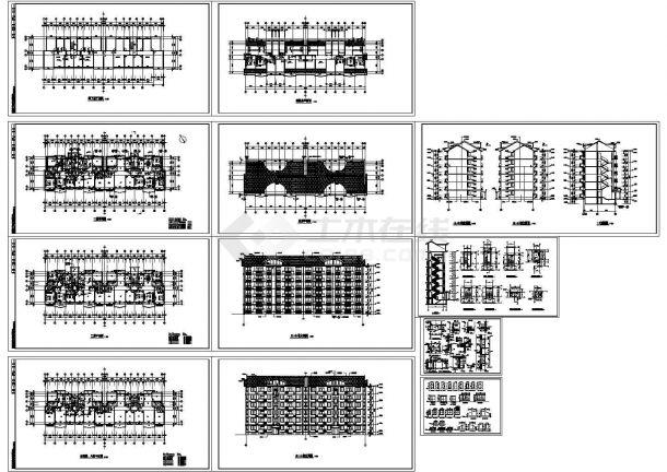 某地上六层框架结构住宅楼设计cad全套建筑施工图(标注详细,12张图)-图二