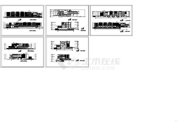 某图书馆里立面设计方案CAD图纸-图一