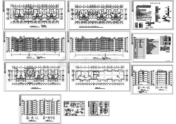 5580平米六层三单元节能住宅建筑设计CAD施工图-图一