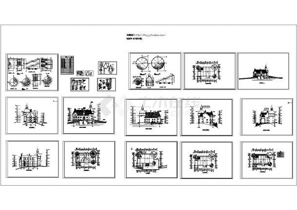 长32.1米 宽23.4米 三层法国古堡建筑设计 含详图.共十七张-图一